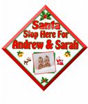 Personalised Name & Photo Christmas Santa Stop Here Window Sign